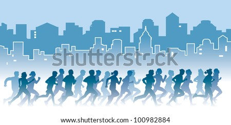 Crowd of young people running on a street. Sport vector illustration.