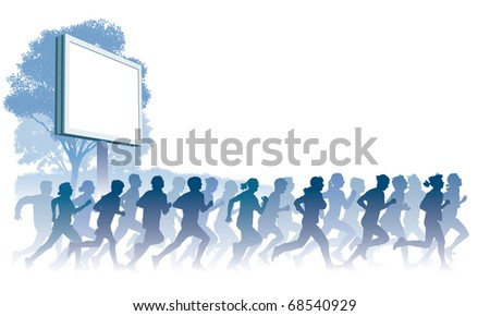 Crowd of young people running. Sport vector illustration.