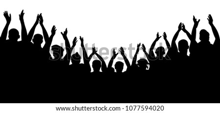 Crowd people cheering, cheer hands up. Applause audience. Cheerful mob fans applauding, clapping. Party, concert, sport. Vector silhouette