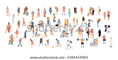 Crowd people set. Flat illustrated people big set - Vector