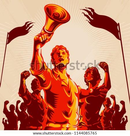 crowd protest fist revolution