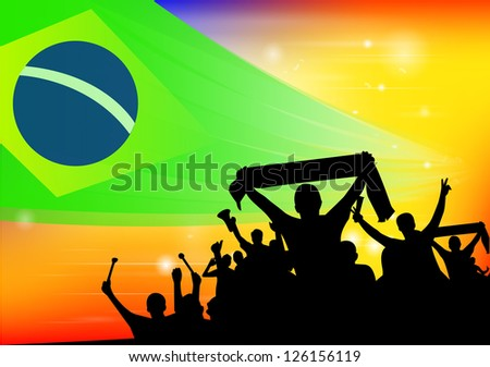 crowd silhouettes cheer Brazil