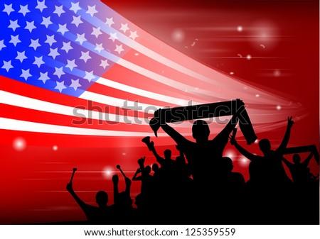 crowd silhouettes cheer USA