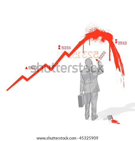 Crowd Source - Painted Economy. A businesman painting a downturned economy graph.