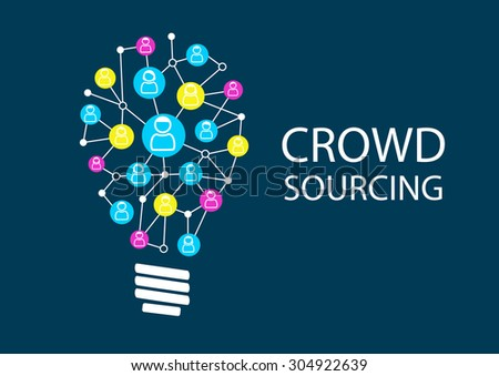 Crowd sourcing new ideas via social network brainstorming. Ideation for finding disruptive business models represented by light bulb.