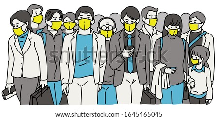 Crowd walking pedestrain people wearing surgical masks, covering mouth, to provent respiratory virus transmission, Coronavirus outbreak. Outline, thin line art, hand drawn sketch design.