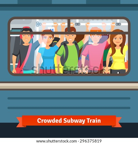 crowded subway train young