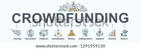 Crowdfunding banner web icon for business and startup, innovation, Platform, Contribution, Collaborative, Growth and return. Minimal vector infographic.