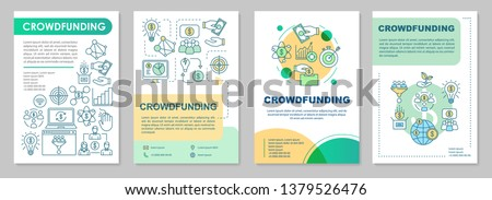 Crowdfunding brochure template layout. Online financing campaign. Flyer, booklet, leaflet print design with linear illustrations. Vector page layouts for magazines, annual reports, advertising posters