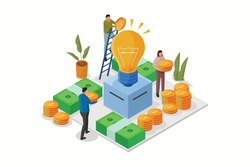 Crowdfunding business idea isometric. Support or collective raise money for new ideas. Entrepreneur business strategy.  Raising funds for the capital of a project. Flat vector illustration.