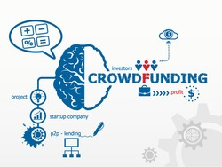 Crowdfunding concept. Crowd funding or sourcefunding public money raising for a project