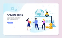 Crowdfunding concept. Idea of raising money for business through the internet. Finding investors and donors for business project. Vector illustration in flat style
