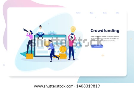 Crowdfunding concept illustration. Group of people gives money to the man with a great idea for supporting his project. Investment into ideas. Isolated vector illustration in cartoon style Stock photo ©