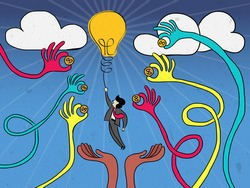 Crowdfunding concept. Many hands giving their fund to support startup entrepreneur, a businessman, hangs on light bulb for good idea.