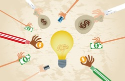 Crowdfunding concept with hands holding money to give their support around brain light bulb idea.