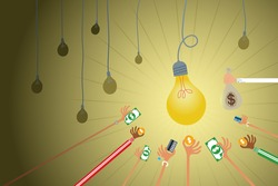 Crowdfunding concept with hands holding money to give their support around bright light bulb idea.