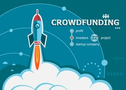 Crowdfunding design and concept background with rocket. Crowdfunding concepts for web banner and printed materials.