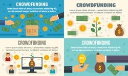 Crowdfunding invest banner set. Flat illustration of crowdfunding invest vector banner set for web design