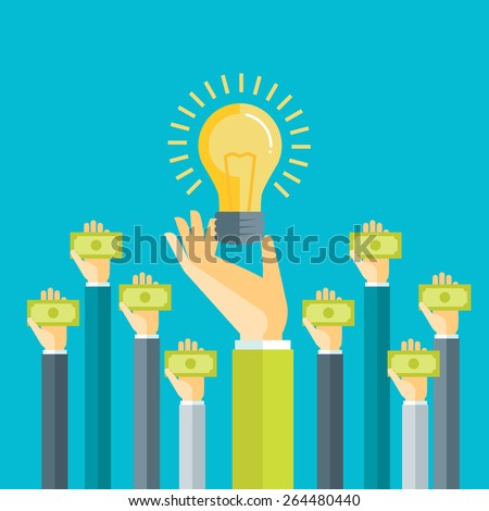 Crowdfunding, investing into ideas, funding project by raising monetary contributions, venture capital flat design colorful vector illustration concept isolated on bright background