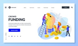 Crowdfunding, investment into idea or business startup. Vector 3d isometric illustration. People putting money to bulb piggybank. Crowd funding, charity concept. Landing page, banner or poster design