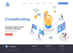 Crowdfunding isometric landing page. Investment into idea or business startup isometry web page. Crowdfunding platform for money donation website template. Vector illustration with people characters.