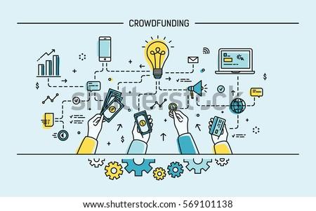 Crowdfunding. Line art colorful flat vector illustration.