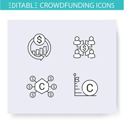 Crowdfunding line icons set. Community funding. Donation funds types. Funding and investment concept. Projects, business financing and capital raising. Isolated vector illustrations. Editable stroke