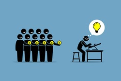 Crowdfunding or crowd funding. Vector artwork depicts raising money from the people by working on a project or venture that has a good bright idea.