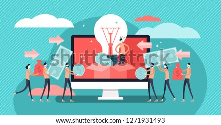 Crowdfunding vector illustration. Startup investment with flat tiny persons concept. Online service project to donate, support or collective raise money for new ideas. Entrepreneur business strategy.