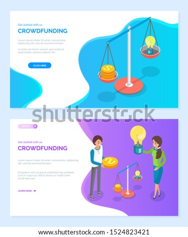 Crowdfunding vector, scaling idea with abilities, women with light bulb, scales and big gold dollar coin. Financial measurement business. Website or webpage template, landing page flat style
