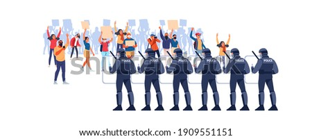 Crowds of people at a demonstration for human rights. Police in Riot Gear Holding the Line. Angry men and women protest, holding placards. Protesters at a political rally. Vector flat illustration. ストックフォト ©
