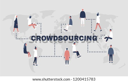 Crowdsourcing platform. World map. Millennial professionals. Project work. Flat editable vector illustration, clip art
