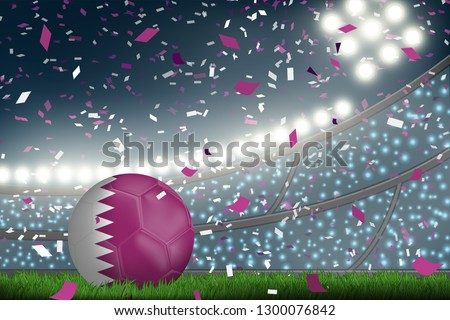 Crowed of fan in football stadium celebrate for the match in night time with spot light backdrop and Qatar soccer ball. This design for template, banner for soccer match result in vector illustration