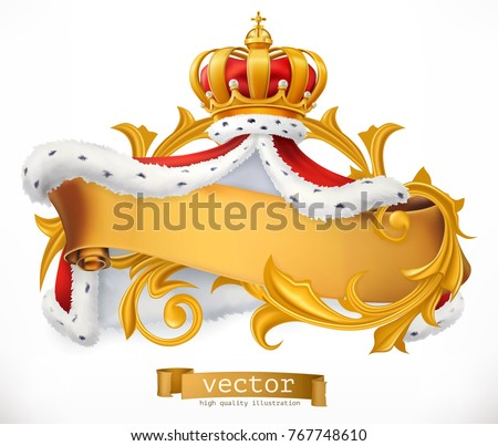 Crown and Mantle of the King. 3d vector icon.
