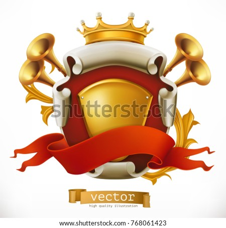 Crown and Shield. King. 3d vector icon