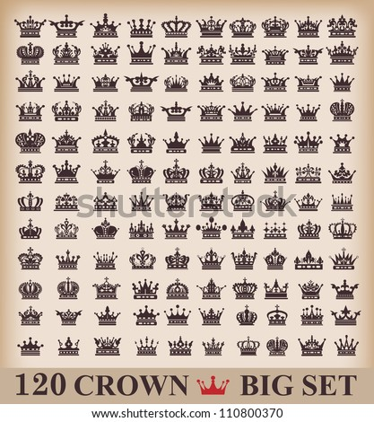 Crown Big set Collection icons Vector Vintage