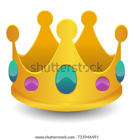 Crown Emoji Icon Object Symbol Gradient Vector Art Design Cartoon Isolated Background