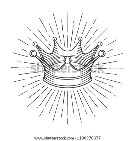 Crown. Hand drawn crown with rays illustrations set. Luxury crown vector sketch in vintage style.