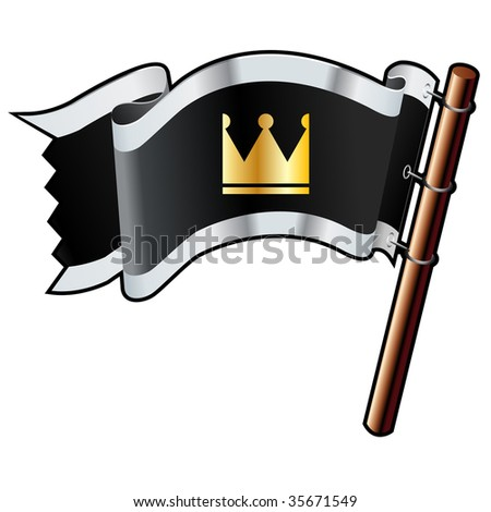 Crown icon on black, silver, and gold vector flag good for use on websites, in print, or on promotional materials