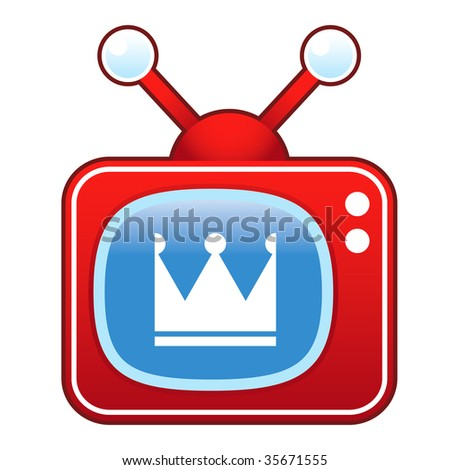Crown icon on retro television set suitable for use in print, on websites, and in promotional materials.