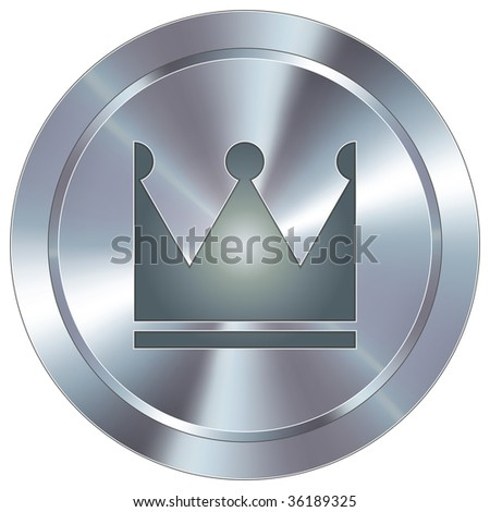 Crown icon on round stainless steel modern industrial button