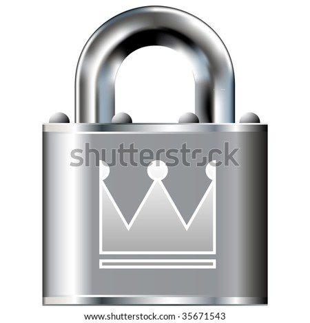 Crown icon on secure vector lock button. Suitable for use on websites, in print, and on brochures.