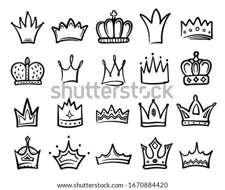 Crown icon sketch set, king or queen royal decoration. Royal jeweled king crown, imperial tiara. Vector hand drawn illustration