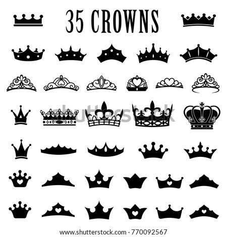 Crown icons. Princess crown. King crowns. Icon set. Antique crowns. Vector illustration. Flat style Silhouette Сток-фото ©