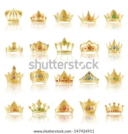 crown icons set   isolated on