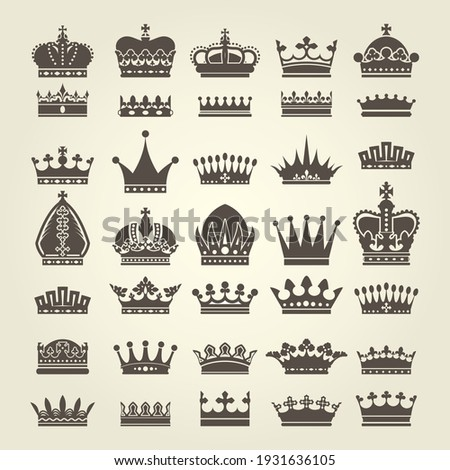 Crown icons set, monarchy authority and royal symbols, heraldic crowns collection, vector Сток-фото ©