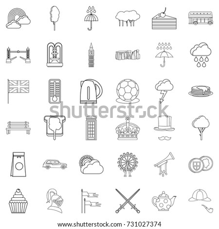 crown icons set outline style