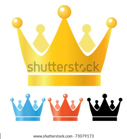 Crown illustration. Gold, blue, red and black