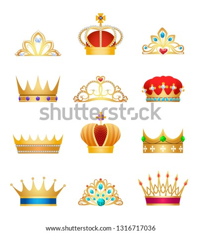 Crown jewels. Vintage woman princess jewelry gold diadem and tiara and golden jewellery king crown set isolated on white background, vector illustration
