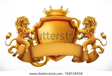 crown  lions and shield 3d